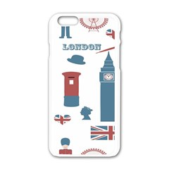 London Icons Symbols Landmark Apple Iphone 6/6s White Enamel Case by Celenk