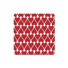 Hearts Pattern Seamless Red Love Square Magnet by Celenk