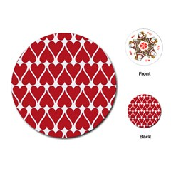 Hearts Pattern Seamless Red Love Playing Cards (round)  by Celenk