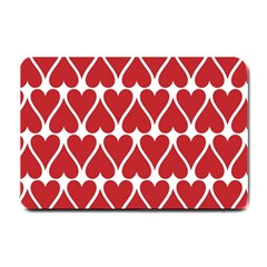 Hearts Pattern Seamless Red Love Small Doormat  by Celenk