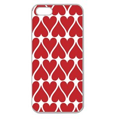 Hearts Pattern Seamless Red Love Apple Seamless Iphone 5 Case (clear) by Celenk