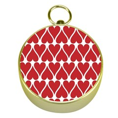 Hearts Pattern Seamless Red Love Gold Compasses by Celenk