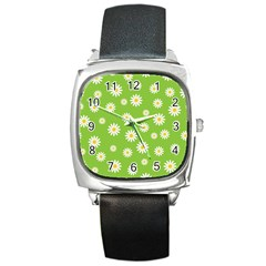 Daisy Flowers Floral Wallpaper Square Metal Watch by Celenk