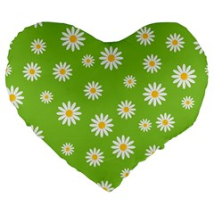 Daisy Flowers Floral Wallpaper Large 19  Premium Flano Heart Shape Cushions by Celenk