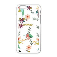 Floral Backdrop Pattern Flower Apple Iphone 6/6s White Enamel Case by Celenk