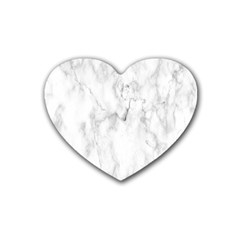 White Background Pattern Tile Rubber Coaster (heart)  by Celenk