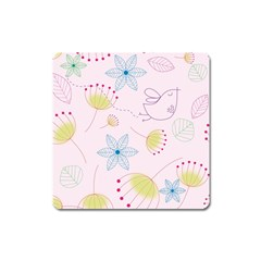 Floral Background Bird Drawing Square Magnet by Celenk
