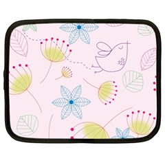 Floral Background Bird Drawing Netbook Case (xl)  by Celenk