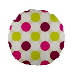 Polka Dots Spots Pattern Seamless Standard 15  Premium Flano Round Cushions by Celenk