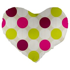 Polka Dots Spots Pattern Seamless Large 19  Premium Flano Heart Shape Cushions by Celenk