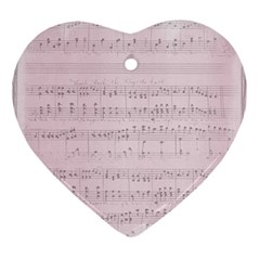 Vintage Pink Music Notes Ornament (heart) by Celenk