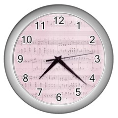 Vintage Pink Music Notes Wall Clocks (silver)  by Celenk