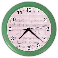 Vintage Pink Music Notes Color Wall Clocks by Celenk