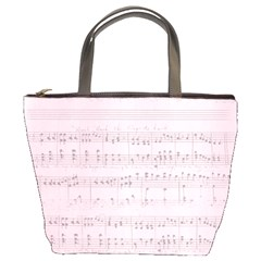 Vintage Pink Music Notes Bucket Bags by Celenk