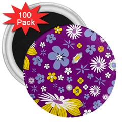 Floral Flowers Wallpaper Paper 3  Magnets (100 Pack) by Celenk