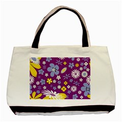 Floral Flowers Wallpaper Paper Basic Tote Bag (two Sides)