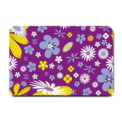 Floral Flowers Wallpaper Paper Small Doormat  by Celenk