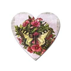 Vintage Butterfly Flower Heart Magnet by Celenk