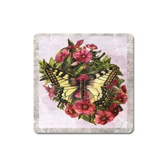 Vintage Butterfly Flower Square Magnet by Celenk