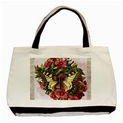 Vintage Butterfly Flower Basic Tote Bag by Celenk