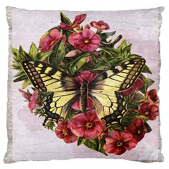 Vintage Butterfly Flower Large Cushion Case (two Sides) by Celenk