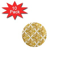 Gold Pattern Wallpaper Fleur 1  Mini Magnet (10 Pack)  by Celenk