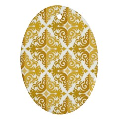 Gold Pattern Wallpaper Fleur Oval Ornament (two Sides) by Celenk