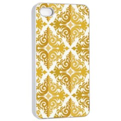 Gold Pattern Wallpaper Fleur Apple Iphone 4/4s Seamless Case (white) by Celenk