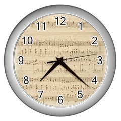 Vintage Beige Music Notes Wall Clocks (silver)  by Celenk
