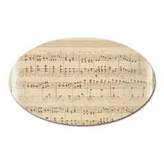 Vintage Beige Music Notes Oval Magnet by Celenk