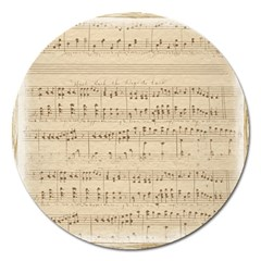 Vintage Beige Music Notes Magnet 5  (round) by Celenk