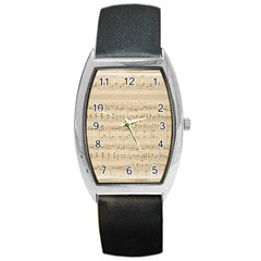 Vintage Beige Music Notes Barrel Style Metal Watch by Celenk