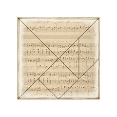 Vintage Beige Music Notes Acrylic Tangram Puzzle (4  X 4 ) by Celenk