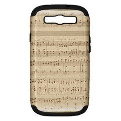 Vintage Beige Music Notes Samsung Galaxy S Iii Hardshell Case (pc+silicone) by Celenk