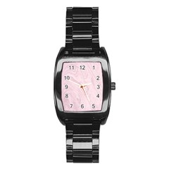 Marble Background Texture Pink Stainless Steel Barrel Watch