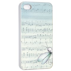 Vintage Blue Music Notes Apple Iphone 4/4s Seamless Case (white) by Celenk