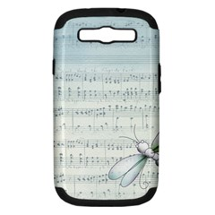 Vintage Blue Music Notes Samsung Galaxy S Iii Hardshell Case (pc+silicone) by Celenk