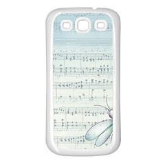 Vintage Blue Music Notes Samsung Galaxy S3 Back Case (white) by Celenk