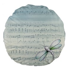 Vintage Blue Music Notes Large 18  Premium Flano Round Cushions by Celenk