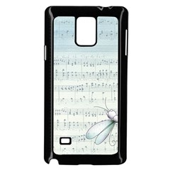 Vintage Blue Music Notes Samsung Galaxy Note 4 Case (black) by Celenk