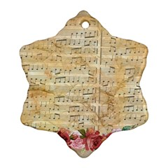 Background Old Parchment Musical Snowflake Ornament (two Sides) by Celenk