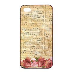 Background Old Parchment Musical Apple Iphone 4/4s Seamless Case (black) by Celenk