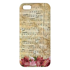 Background Old Parchment Musical Apple Iphone 5 Premium Hardshell Case by Celenk