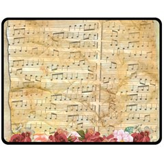 Background Old Parchment Musical Double Sided Fleece Blanket (medium)  by Celenk