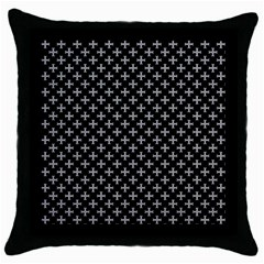 White Cross Throw Pillow Case (black) by jumpercat