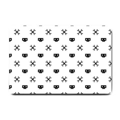 Black Pixel Skull Pirate Small Doormat  by jumpercat