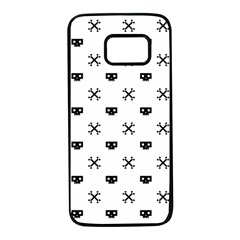 Black Pixel Skull Pirate Samsung Galaxy S7 Black Seamless Case by jumpercat