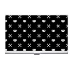 White Pixel Skull Pirate Business Card Holders Front