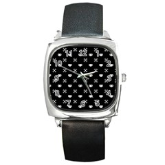 White Pixel Skull Pirate Square Metal Watch by jumpercat