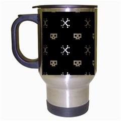 White Pixel Skull Pirate Travel Mug (silver Gray) by jumpercat